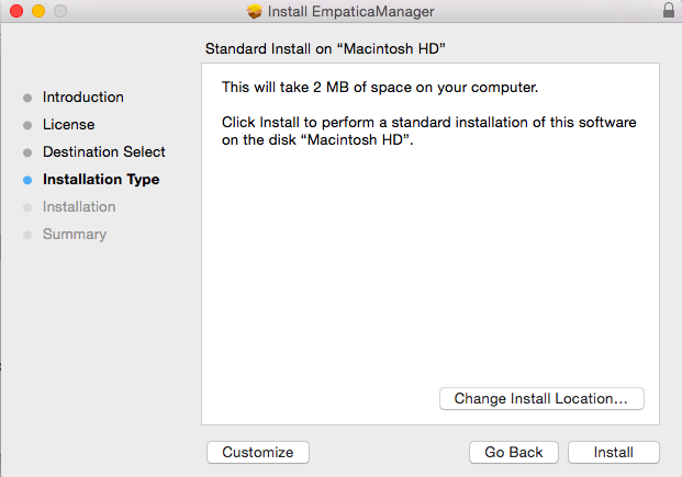 Empatica Manager Installation Type